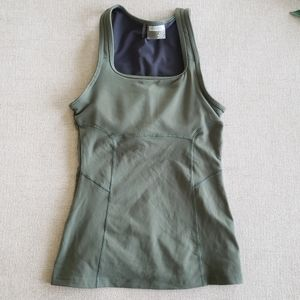 Athleta green tank top built in shelf bra workout